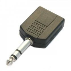 Adattatore M. 6,3mm/2F. 6,3mm stereo pvc/nichel