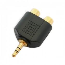 Adattatore M. 3,5mm stereo / 2 F. rca pvc/dorato