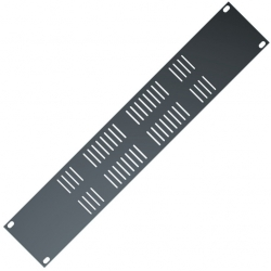 RS277 - 2 units Rack black panel with ventilation holes