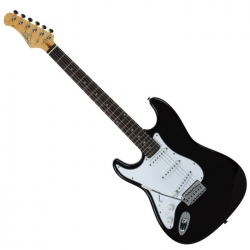 S-300 STRATOCASTER LEFT-HANDED ELECTRIC GUITAR - BLACK