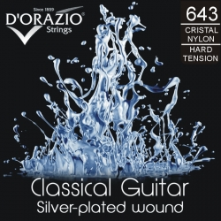 D'ORAZIO Classic guitar 6 strings set - SILVER Hard Tension