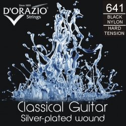D'ORAZIO Classic guitar 6 strings set - SILVER/BLACK Nylon H.T.