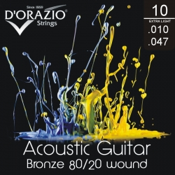 D'ORAZIO Acoustic guitar 6 strings set - BR. 80/20 Extra Light 010/047
