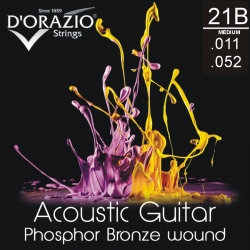 D'ORAZIO Acoustic guitar 6 strings set - Phosphor B. Light 011/052