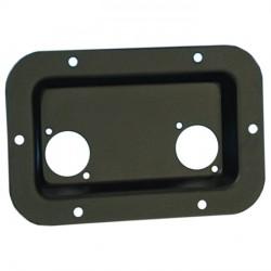 Vaschetta nera in metallo fori per XLR / Speakon 136x89x14mm