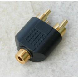 Adattatore F. 3,5mm stereo / 2 M. rca pvc/dorato