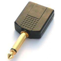 Adattatore M.6,3mm/ 2 F.6,3mm pvc/dorato mono