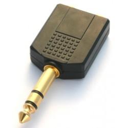 Adattatore M. 6,3mm stereo / 2 F. 6,3mm stereo pvc/dorato