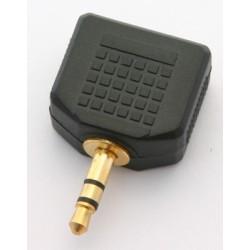 Adattatore M. 3,5mm stereo / 2 F. 3,5mm stereo pvc/dorato