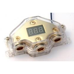 Derivatore 1 IN 3 OUT dorato con voltmetro