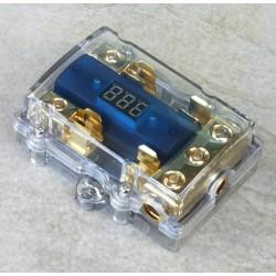 Portafusibile dorato/trasparente con voltmetro x 2 AGU