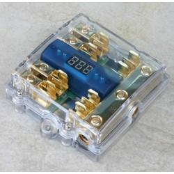 Portafusibile dorato/trasparente con voltmetro x 4 AGU